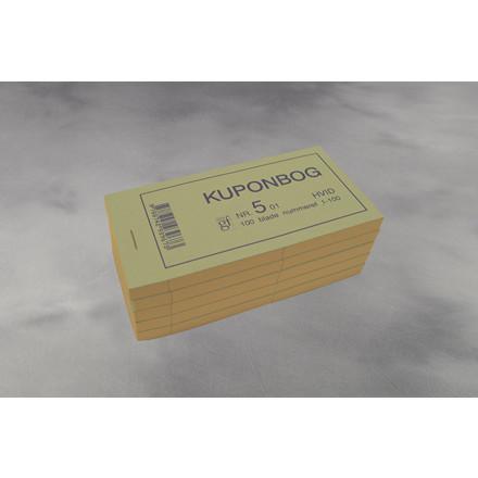 Kuponbøger 2274 hvid 130 x 70 mm - 2 x 100 ark