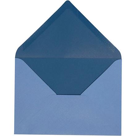 Kuvert, str. 11,5x16 cm, 100 g, lys blå/mørk blå, 10stk.