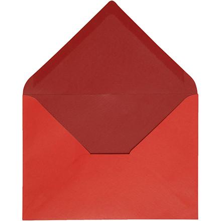 Kuvert, str. 11,5x16 cm, 100 g, rød/vinrød, 10stk.