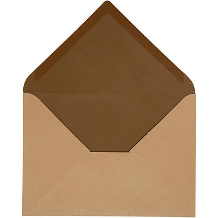 Kuvert, str. 11,5x16 cm, 100 g, sand/brun, 10stk.
