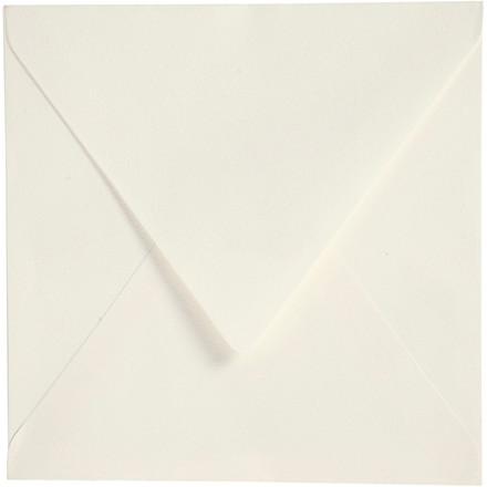 Kuvert, str. 16x16 cm, 120 g, råhvid, 50 stk..