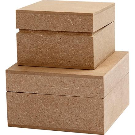 Kvadratiske æsker, str. 7,5+9,5 cm, H: 5,5 cm, MDF, 2stk.