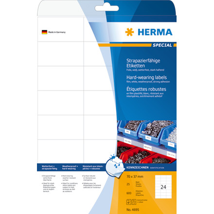Labels film white hard-wearing 70x37 HERMA A4 LC