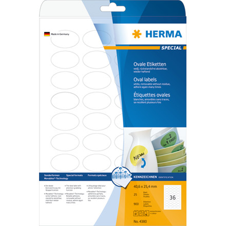 Labels HERMA Movables A4 40,6x25,4 oval