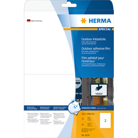 Labels outdoor film white 210x148 HERMA A4 LC 20 pcs.