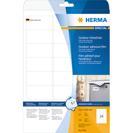 Labels outdoor film white 63,5x33,9 HERMA A4 LC 240 pcs.