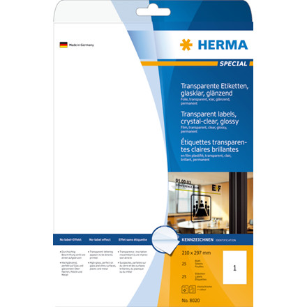 Labels transparent crystal-clear HERMA A4 210x297 mm