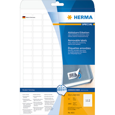 Labels white HERMA Movables 25,4x16,9 A4 2800pcs