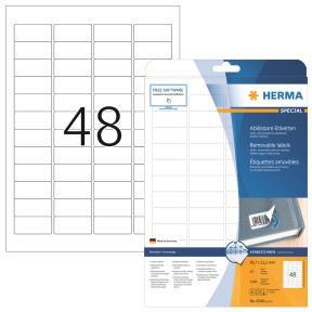 Labels white HERMA Movables 45,7x21,2 A4 1200pcs