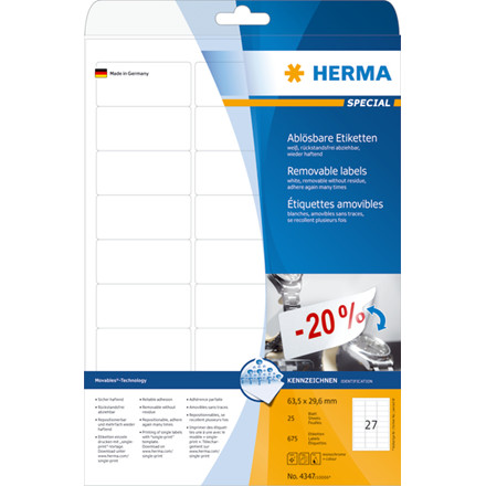 Labels white HERMA Movables 63,5x29,6 A4 675 pcs