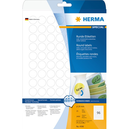 Labels white HERMA Movables Ø 20 A4 2400 pcs.