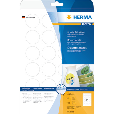 Labels white HERMA Movables Ø 40 A4 600 pcs.