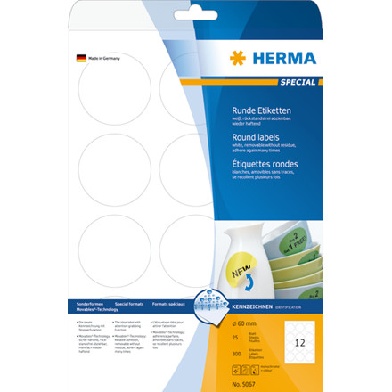 Labels white HERMA Movables Ø 60 A4 300 pcs.
