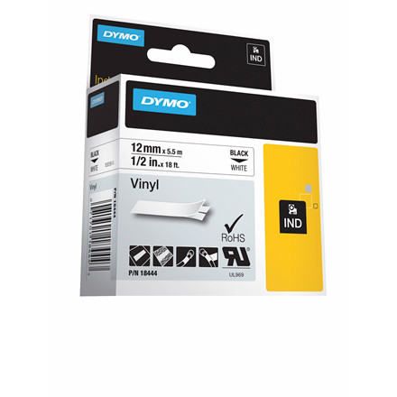 Labeltape DYMO D1 12mm sort på hvid vinyl