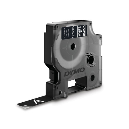 Labeltape Dymo D1 ekstra stærk 12mmx3m hvid på sort