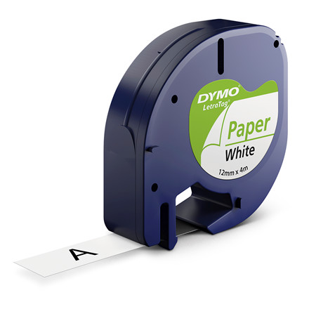 Labeltape DYMO LetraTAG 12mmx4m papirtape hvid
