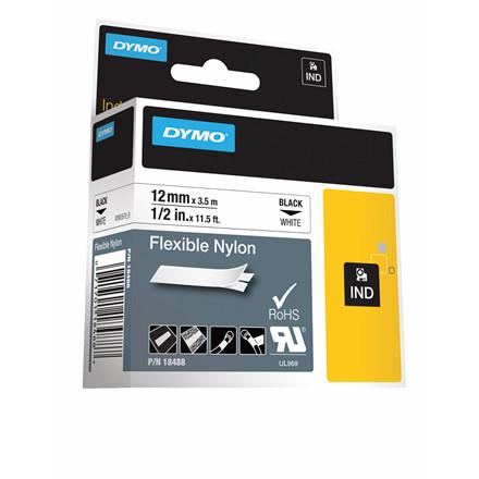 Labeltape DYMO Rhino 12mm sort på hvid nylon