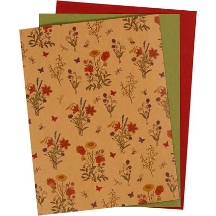 Læderpapir ark 21 x 27,5 + 21 x 28,5 + 21 x 29,5 cm tykkelse 0,55 mm grøn natur og rød | 3 ark