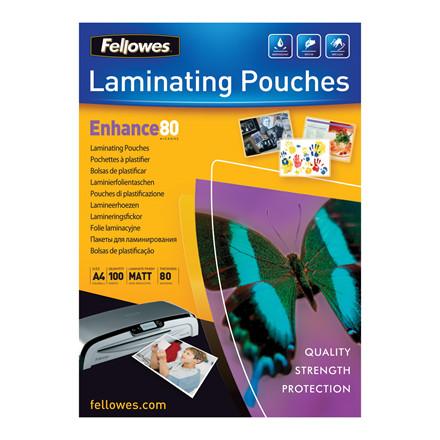 Fellowes Matte Lamineringslommer A4 - 80 mic - 100 stk