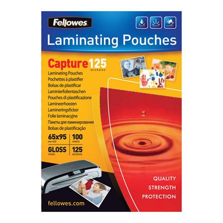 Lamineringslommer - Fellowes 65 x 95 mm 125 mic glossy - 100 stk