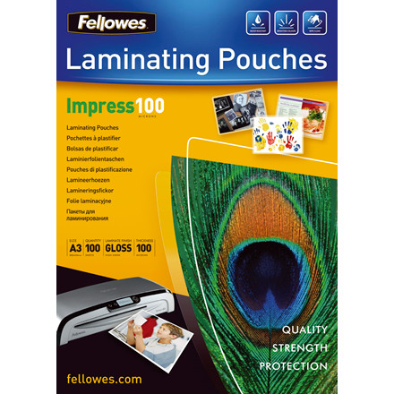 Lamineringslommer - Fellowes A3 100 mic Glossy - 100 stk