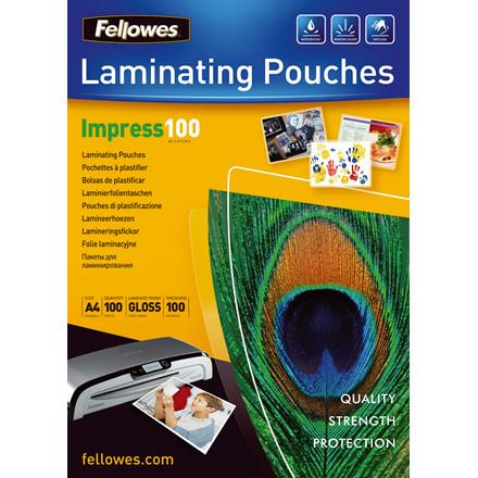 Lamineringslommer - Fellowes A4 100 mic glossy - 100 stk