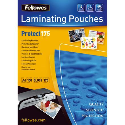 Lamineringslommer - Fellowes A4 175 mic glossy - 100 stk