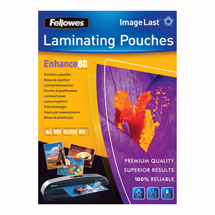 Lamineringslommer - Fellowes A4 80 mic glossy - 100 stk