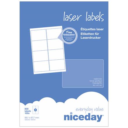 Laser label - niceday A4 3262248 8 pr. ark 99,1 x 67,7mm - 100 ark