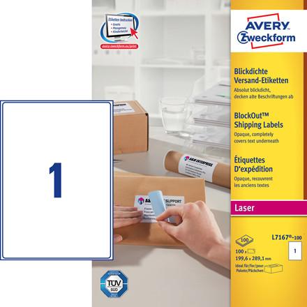 Avery L7167 laseretiket 1 pr ark 199,6 x 289 mm - 100 ark