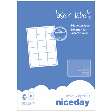 Laserlabel - niceday A4 3457332 18 pr. ark 63,5 x 46,6 mm - 100 ark