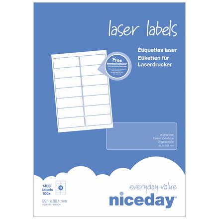 Laserlabel - niceday A4 4328136 14 pr. ark 99,1 x 38,1 mm - 100 ark
