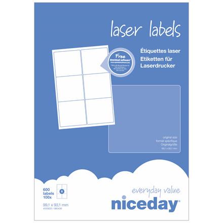 Laserlabel - niceday A4 4555620 6 pr. ark 99,1 x 93,1 mm - 100 ark