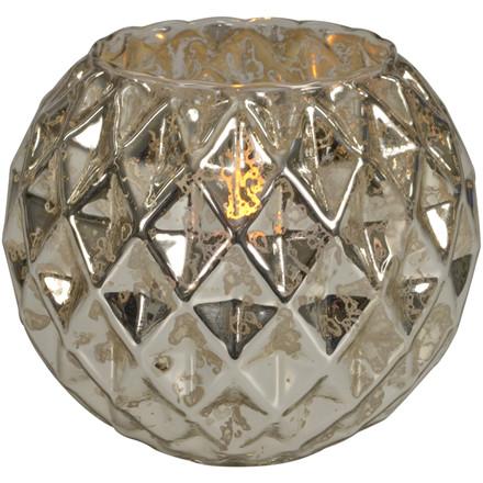 LED lysestage, 10cm, Ø12cm, sølv, glas, rund, med timer, ekskl. 3xAAA batterier
