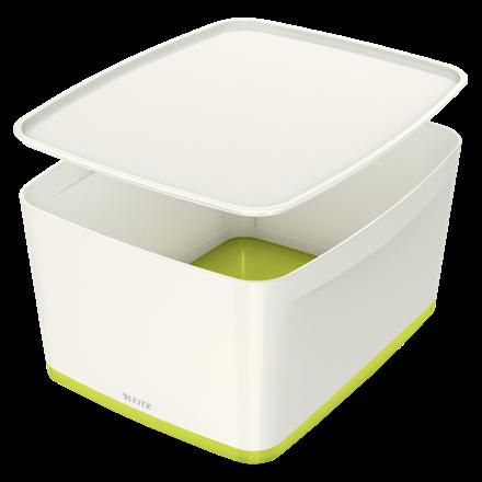Leitz MyBox Large opbevaringsboks med låg 31,8 x 38,5 x 19,8 cm - Hvid & grøn