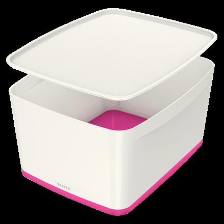 Leitz MyBox Large opbevaringsboks med låg 31,8 x 38,5 x 19,8 cm - Hvid & pink