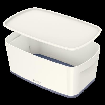 Opbevaringsboks med låg Leitz MyBox Small 31,8 x 12,8 x 19,1 cm - hvid/grå