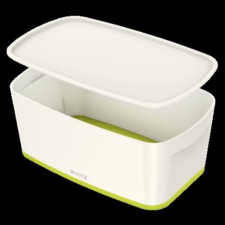 Opbevaringsboks med låg Leitz MyBox Small 31,8 x 12,8 x 19,1 cm - hvid/grøn