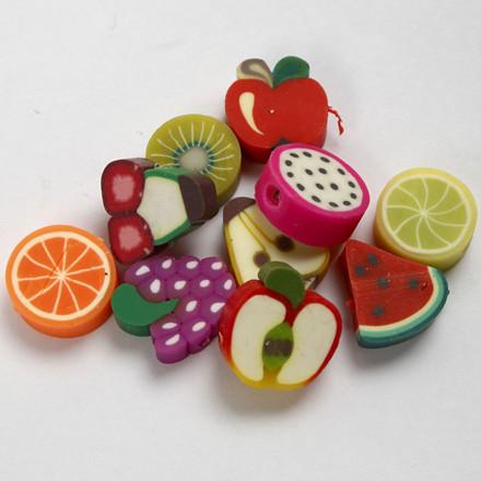 Lerperler, dia. 10 mm, frugt, 200ass.