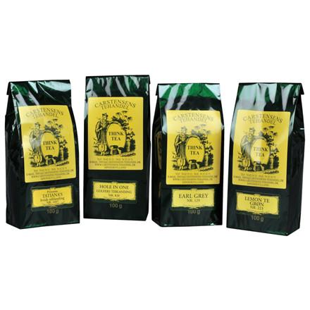 Løs te, Carstensens Tehandel, mix kasse med 4 slags te, Hvid, Earl Grey, Grøn, Hole In One,