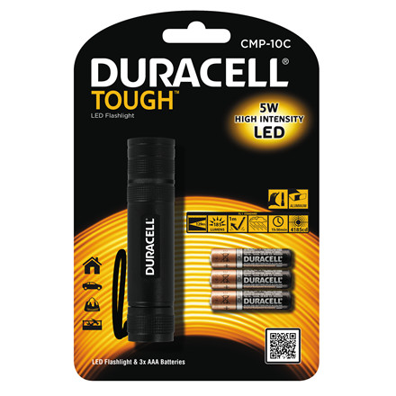 Lommelygte Duracell Though CMP10C LED incl. 3 AAA batt.