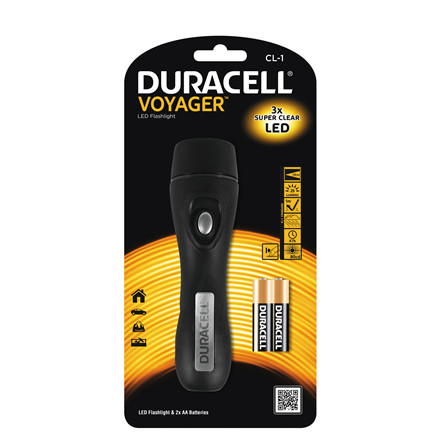 Lommelygte Duracell Voyager CL-1 LED incl. 2 AA batterier