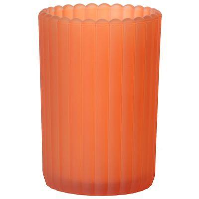 Lysestage Patio frosted, Duni, orange, glas, Ø7,50 cm