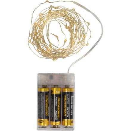Lyskæde, 500cm, sølv, ekskl. 3AA batterier, med 100 LED, inkl. timer