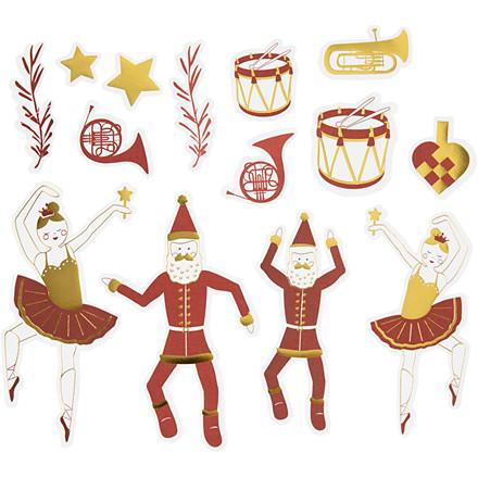 Mærkater, str. 2,2x12,5 cm, hvid, guld, rød, nøddeknækker, julemand og ballerina, 57stk.