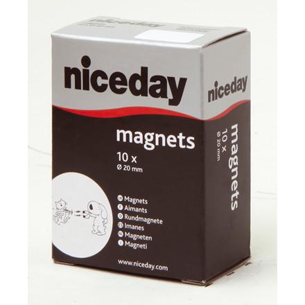 Magneter - niceday hvid Ø 20 mm 980593 - 10 stk.
