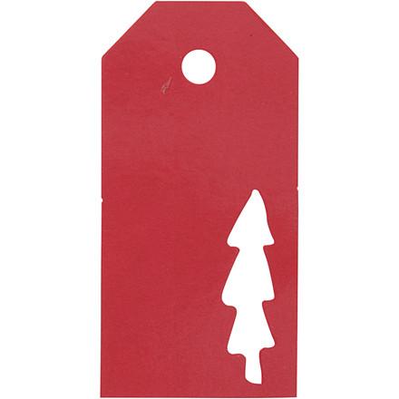 Manillamærker størrelse 5 x 10 cm 300 gram rød Juletræ - 15 stk.