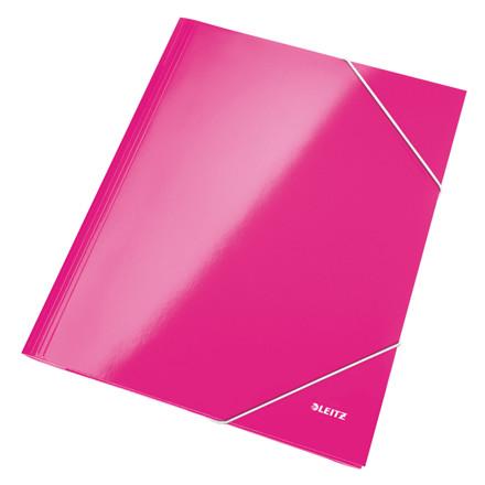 Leitz WOW 3-klap mappe A4 med elastik pink - 39820023