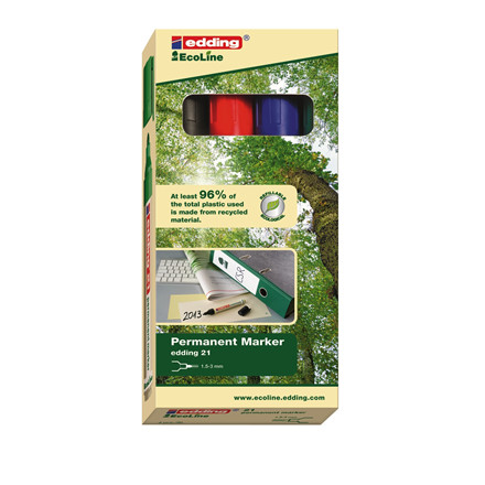 Edding 21 Ecoline Miljøvenlig Marker - Sæt med 4 farver 1,5 - 3 mm