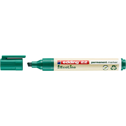 Marker edding 22 EcoLine grøn perm. 1-5mm skrå spids